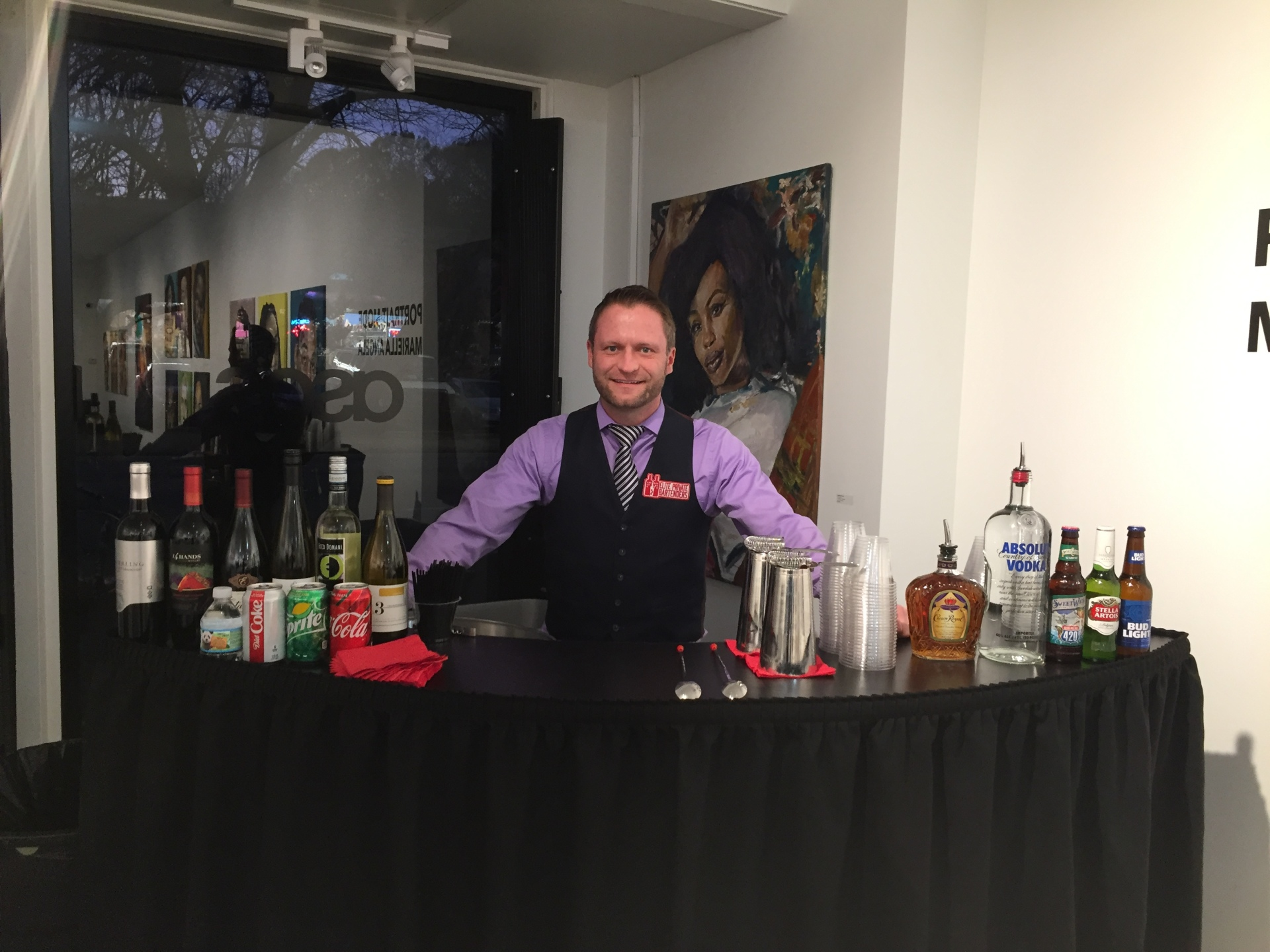 Bar service at art gallery